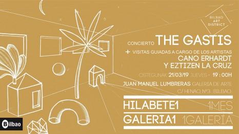 Visitas guiadas de Cano Erhardt y Eztizen La Cruz y concierto de The Gastis. Evento 1Mes1Galería del Bilbao Art District.