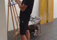 Pablo Astrain pinta en directo en la galería 1
